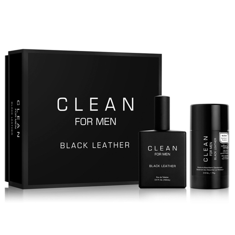 Black Leather by Clean 100ml EDT 2 Piece Gift Set