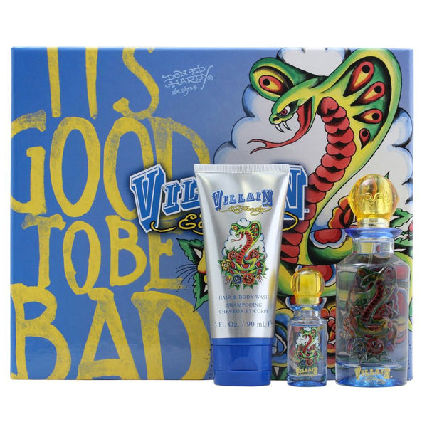 Ed Hardy Villain 75ml EDT 3 Piece Gift Set