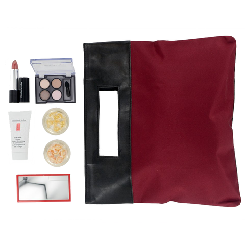 Elizabeth Arden Makeup 7 Piece Gift Set in Burgundy/Khakhi Bag