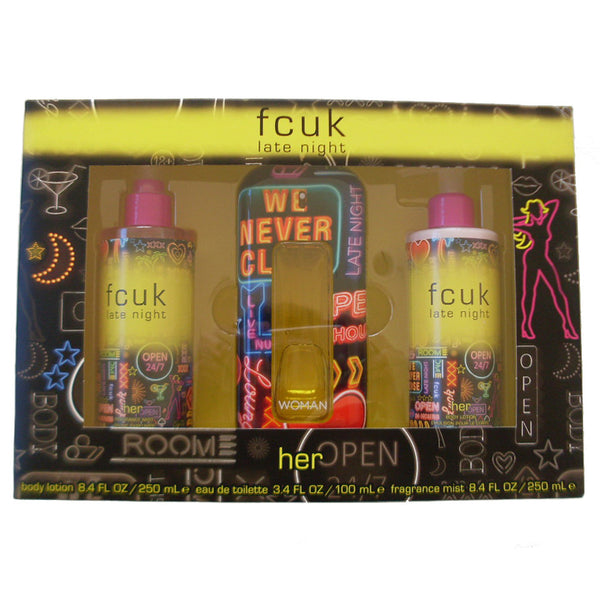 FCUK Late Night for Her 100ml EDT 3 Piece Gift Set