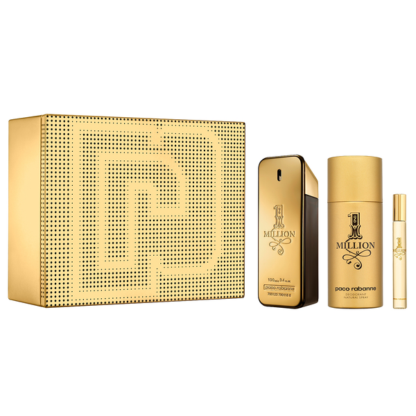One Million by Paco Rabanne 100ml EDT 3 Piece Gift Set