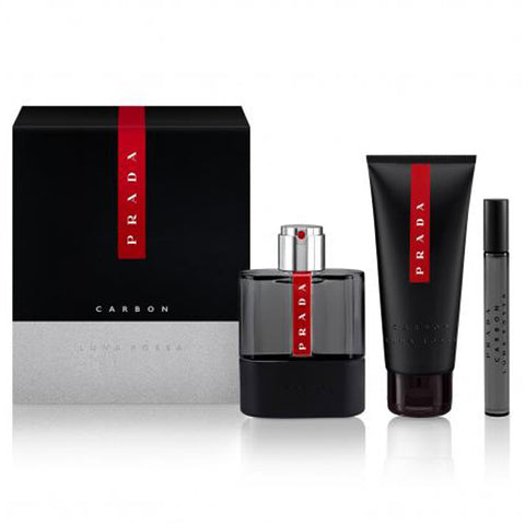 Luna Rossa Carbon by Prada 100ml EDT 3 Piece Gift Set