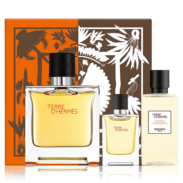 Terre D'Hermes by Hermes 75ml Pure Perfume 3 Piece Gift Set