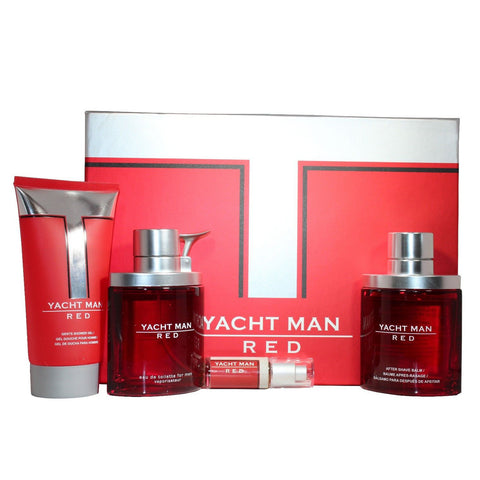 Yacht Man Red by Myrurgia 100ml EDT 4 Piece Gift Set