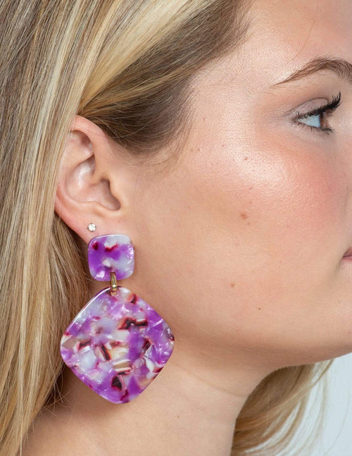 Bold Violet Earrings - Aubrey Grace, LLC