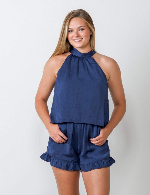 Coast is Clear Blue Romper - Aubrey Grace, LLC