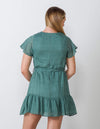 Lucky Green Ruffle Hem Dress - Aubrey Grace, LLC
