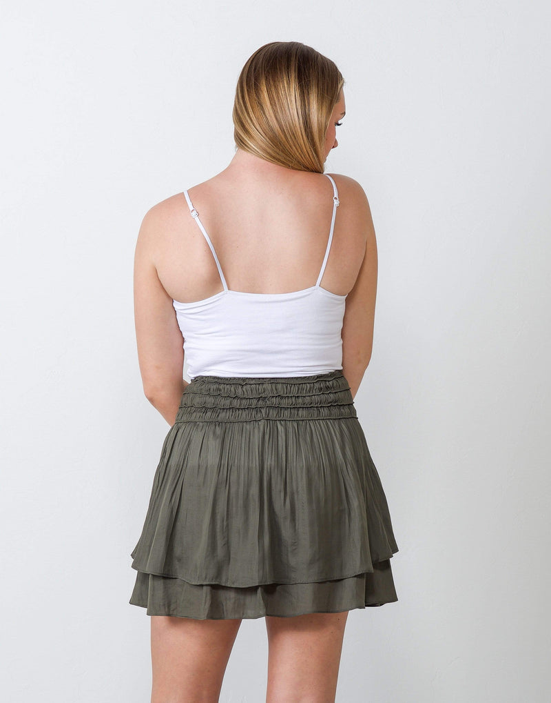 Make Your Mark Olive Layered Skirt - Aubrey Grace, LLC