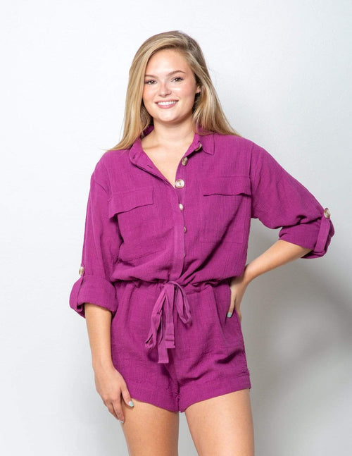 Berry Button Down Romper - Aubrey Grace, LLC