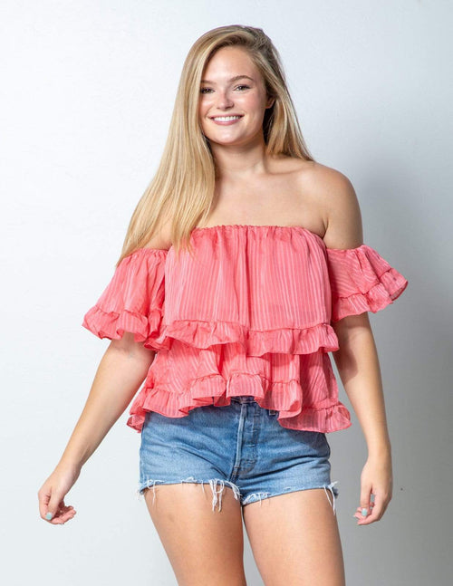 Seaside Coral Ruffle Top - Aubrey Grace, LLC
