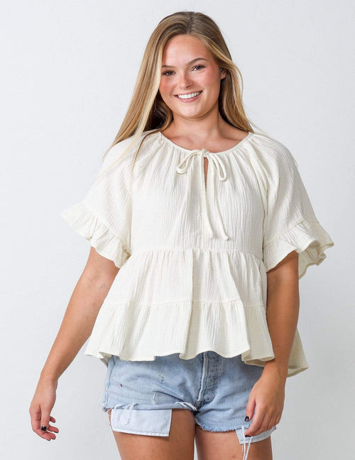 Sweet Cream Ruffle Top - Aubrey Grace, LLC