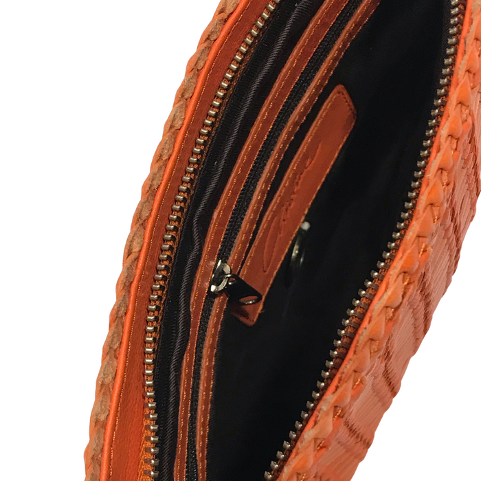 CHRISTINE | Orange Woven Calfskin Clutch Bag With Wrist Strap