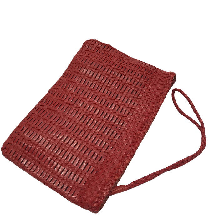 CHRISTINE | Red Woven Calfskin Clutch Bag With Wrist Strap