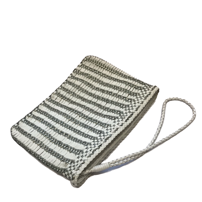 CHRISTINE | White/Silver Woven Calfskin Clutch Bag With Wrist Strap