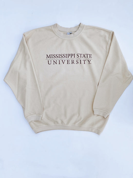 SALE MSU Script Ribbed Sweatshirt (Natural)