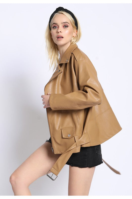 camel boxy leather jacket
