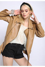 Load image into Gallery viewer, camel boxy leather jacket