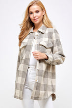 Load image into Gallery viewer, khaki plaid button down jacket