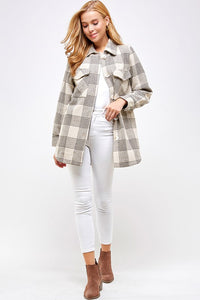 khaki plaid button down jacket