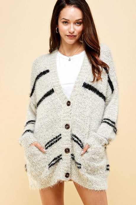 modern striped cardigan (2 colors)