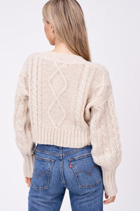 oat cable cardigan