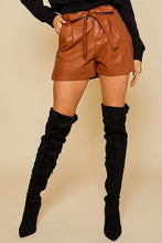 Load image into Gallery viewer, leather paperbag shorts (2 colors)