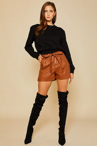 leather paperbag shorts (2 colors)