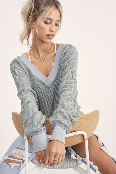 waffle v-neck tops (34 colors)