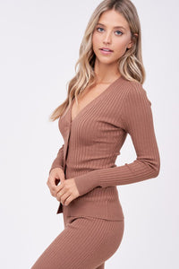 cocoa ribbed cardigan