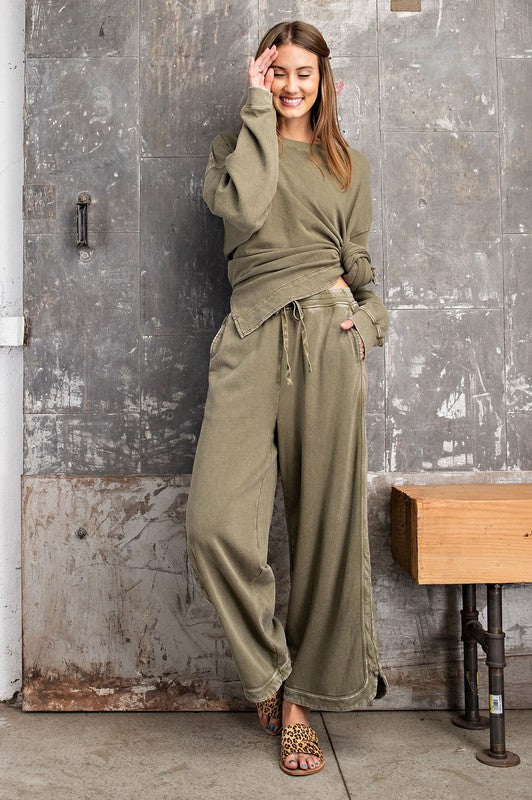 Mineral Wash Wide Leg Pants (2 Colors)