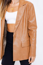 Load image into Gallery viewer, camel leather blazer