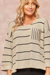 oat striped sweater