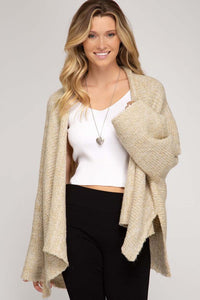 taupe wide sleeve cardigan