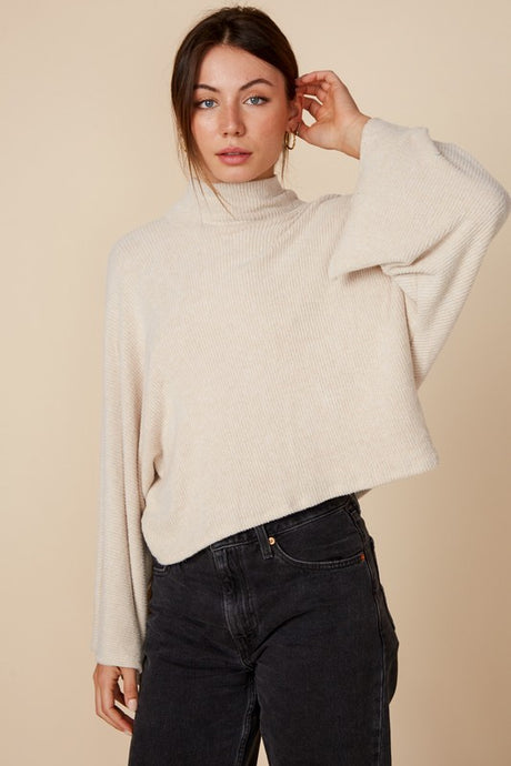 oatmeal mock neck top