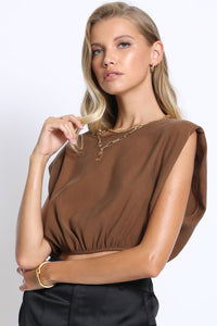 cognac bold shoulder crop