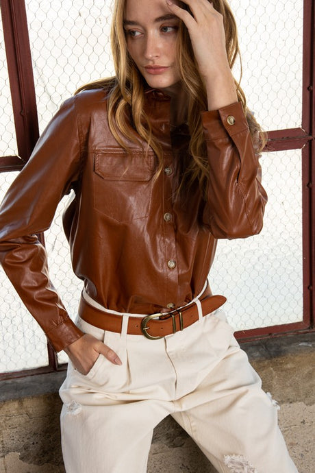 faux saddle leather top