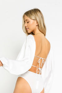 white satin bodysuit