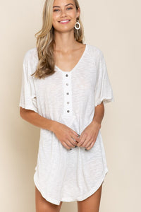 white button tunic tee