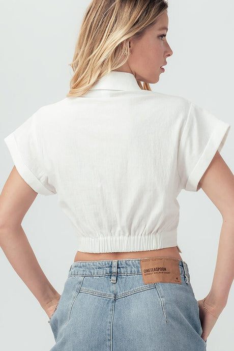 White Knot Button Top