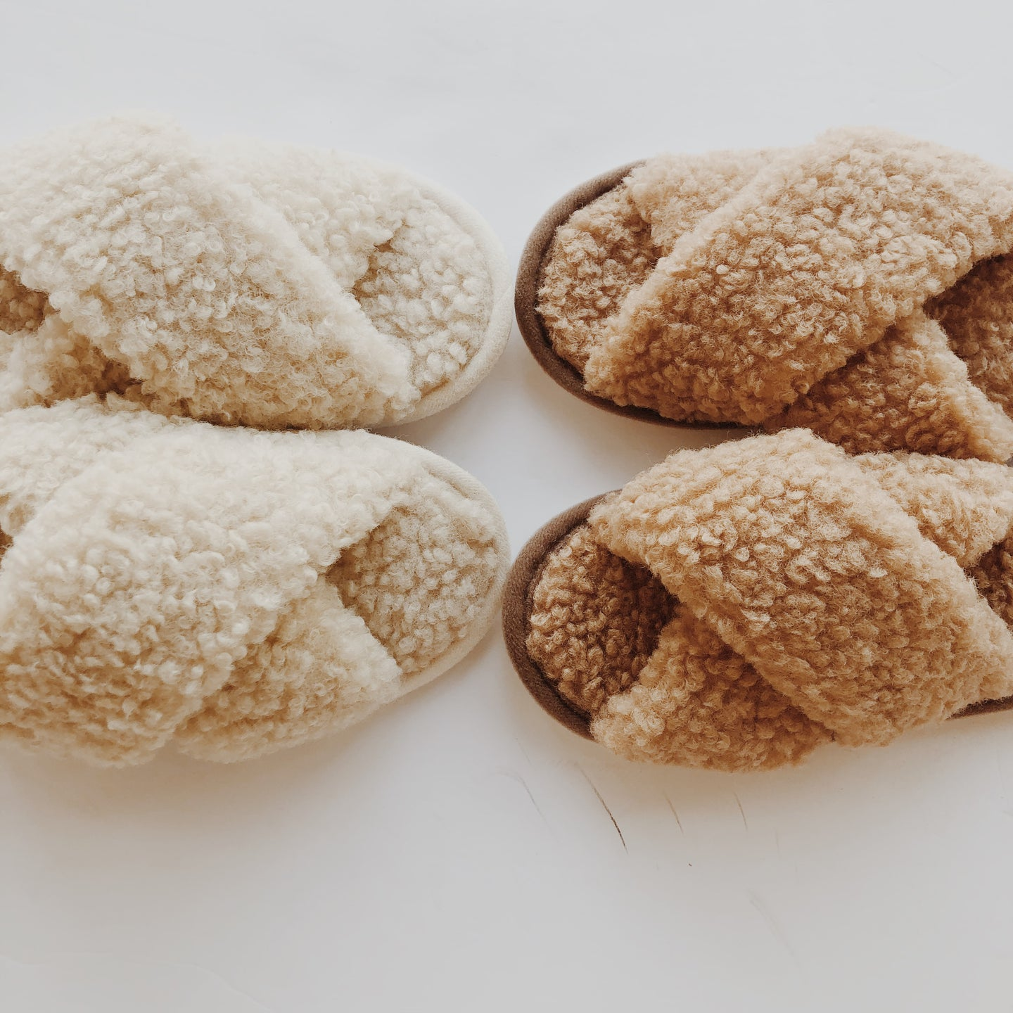 camel teddy slippers