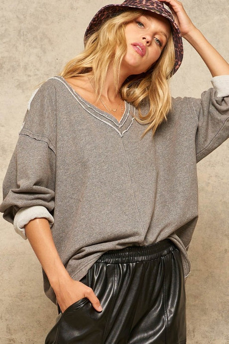 french terry knit top (2 colors)