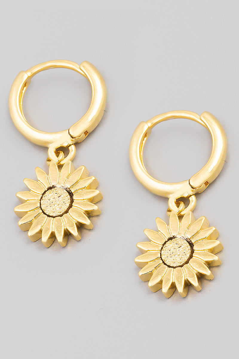 Flower Drop Huggie Earrings