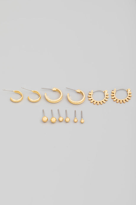 Mini Post Hoop Earring Set
