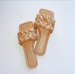 Nude Braided Simple Slide