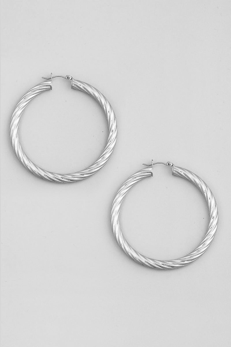 Silver Twist Tube Hoop