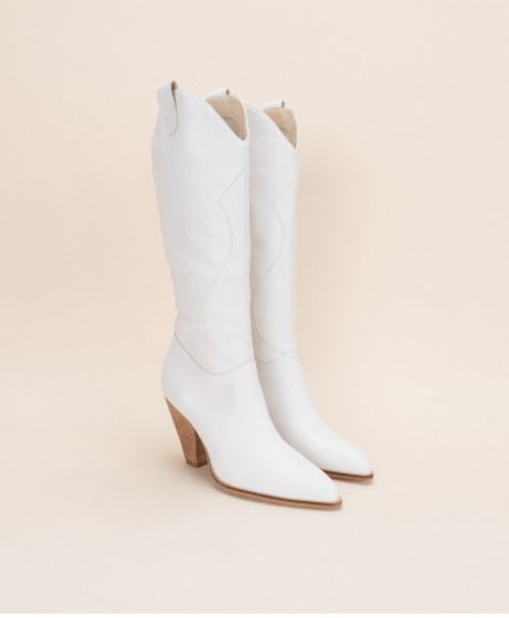 the Western High Knee Boot (white)