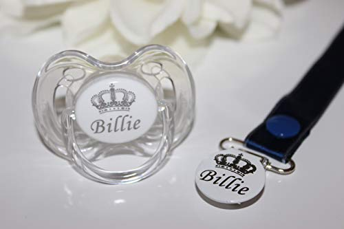 Personalized Gift - Personalized Pacifier Pacifier and Pacifier Clip White (0-6 Months & 6-18 Months Available) Royal Crown BPA-Free CAN BE STERILIZED - More Ribbon Color Options Same Day Dispatch