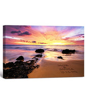 Love on Beach - Personalized Canvas Prints with Couple's Names on it, for Anniversary, Wedding, Valentine's Day. 18x12