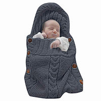 XMWEALTHY Newborn Baby Wrap Swaddle Blanket Knit Sleeping Bag Receiving Blankets Stroller Wrap for Baby(Dark Gray) (0-6 Month)