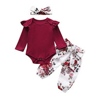 Baby Girl 2 Piece Outfits Newborn Infant Ruffle Romper Tops Floral Pants Headband Fall Winter Clothes Set
